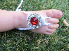 Baby Barefoot Sandles with Rhinestones