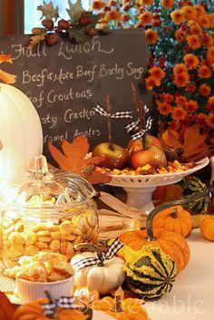 Fall Soup Buffet. No recipes, I just love this idea.