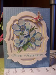 Can use cricut elegant edges and cricut mother's day bouquet to make this sympathy cards, pretti frame, stampin up framelits, sympathi card, layer frame