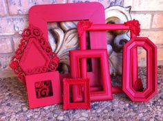 Red Empty Collage Frames Gallery Vintage Frame Set  by FeFiFoFun, $68.00