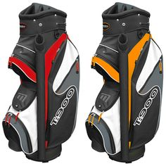 """T:900 Trolley Bag in Black and Red / Black and Orange - Includes putter tube, cool pocket, storage pocket, 9"""" 14 way divider top and accessory clip"""