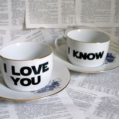 Romania I love you I know Star Wars themed altered vintage teacup and saucer set. $45.00, via Etsy.