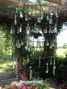 outdoor chandelier - love the crystals