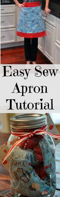 Easy Sew Apron Tutorial.  Gift it in a Mason jar!