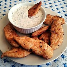 baked buffalo chicken with homemade ranch dip
