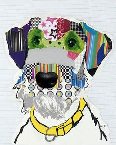 Dog collages by Michel Keck  Great idea for a quilt.