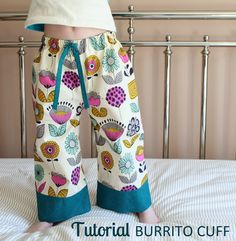 Tutorial: Burrito Cuff PJ Pants | Learn how to add an accent cuff and fully encase your seam allowance using a simple sewing technique. | The Inspired Wren