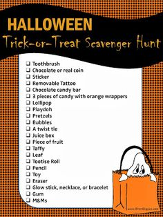 Trick-or-Treat Scavenger Hunt - FREE PRINTABLE - Keep the fun going even after the kiddos are finished trick-or-treating this year. Not only is it fun, it's a great way for parents to do a safety check of all of the kids' treats at the end of the night.