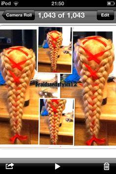 Dutch braids with ribbon