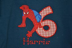 Custom Made to order Personalized Birthday Number with Spiderman Shirt available in sizes 6 month to Adult XL. $21.00, via Etsy.