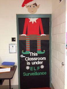 Elf on shelf door decorating ..... Christmas door