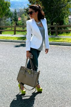 White Blazer, Jeans & Lime Green Peep Toe Pumps.. OOTD