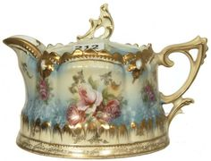 RSP SYRUP PITCHERCREAM AND BLUE TONES WITH ROSE DECOR - GOLD TRIM WITH OPAL JEWELS