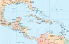 Mapa Políticoterritorial de América Central y del Caribe