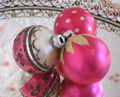 Pink Vintage Christmas Ornaments