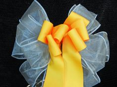 Marigold and gray Wedding/ Pew Bows set of 12 by creativelycarole, $90.00