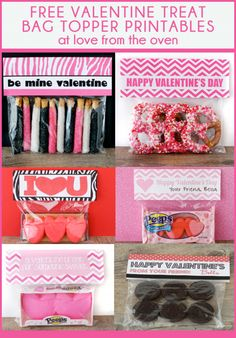 Free Valentine's Day Printable Treat Bag Toppers.  #Valentines