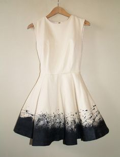 Canvas dress with a circle skirt - merely painted at the bottom, but it's such an amazing effect. I need to try this one out!