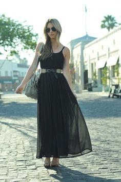 pleated maxi dress