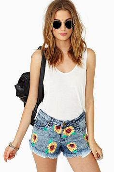 Sunflower Cutoff Shorts by #Reverse