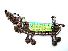 Crochet applique pattern dog / dachshund DIY por VendulkaM en Etsy