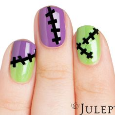 Frankenstein Nails are adorable and so easy with our stick-on decals!