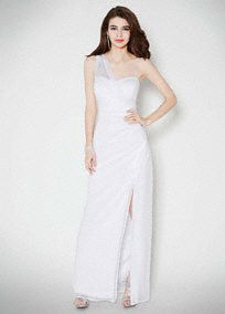 $99.00. Make a captivating statement on your special day in this Grecian inspired wedding dress!  Features faux illusion one shoulder with lightly draped bodice that is very flattering.  Long soft a-line silhouette withfront slit is ultra-chic.  Fully lined. Back zip. Imported polyester. Dry clean only.  To protect your dress, try our Non Woven Garment Bag.