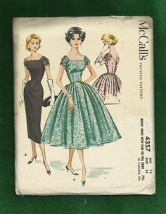 1957 McCall's 4357  Wiggle & Bubble Cocktail Dress by MrsWooster, $68.00