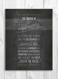 LDS Relief Society poster - the Purpose of Relief Society