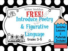 FREE! Introduce Poetry and Figurative Language into the Classroom, Grades 3-5 from TeacherJuliasResources on TeachersNotebook.com -  (11 pages)  - This is a great lesson that introduces poetry and figurative language into the classroom! Complete with a scripted lesson, poems, and anchor charts!