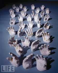Make plaster casts of hand/rubber hand,  Hang along a wall or maybe a walk way to the house.....
