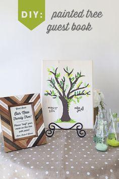 DIY Wedding: painted tree guest book idea! #12monthsofmartha #marthastewartcrafts