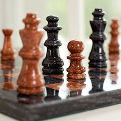 Black and Tan Marble Chess Set.