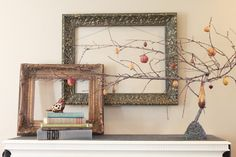 fall decor, fall mantels, beauti fall, empty frames, rooster