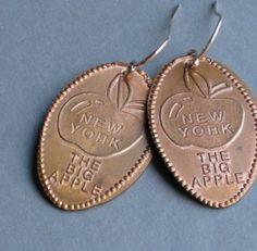Big Apple souvenir elongated penny earrings by ballandchain