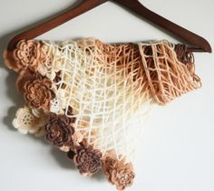 autumn roses  soft triangle shawl with roses by LOVELYCHICKNITTING, $47.00