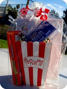 Movie theme gift basket by Laurette