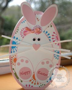 Bunny card made from ovals and circles and a sweet little heart-shaped nose.  Long white whiskers and a splotchy background of colors are a great handmade Easter card.