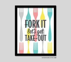 Fork kitchen wall decor funny kitchen art retro by EatSayLove
