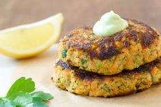 Wild Salmon, Sweet Potato and Broccoli Patties with Avocado Citrus Sauce   Three Hot Dishes   www.threehotdishes.org