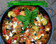 Mediterranean Eggplant, a quick, easy & tasty vegetarian supper, just eggplant, zucchini and tomato (fresh or canned) with a little feta stirred in. Recipe source, Kitchen Parade.