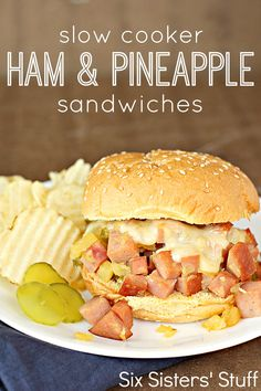 Slow Cooker Ham and Pineapple Sandwiches from SixSistersStuff.com (sounds DELICIOUS and my kids devour the crap out of ham and pineapple)