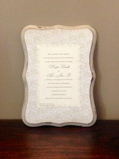 Keepsake Wedding Invitation Plaque. $45.00, via Etsy.