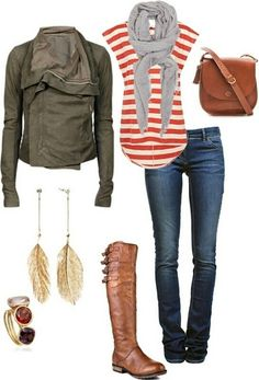feather earrings, fashion, style, fall looks, fall outfits, riding boots, leather jackets, casual outfits, stripe