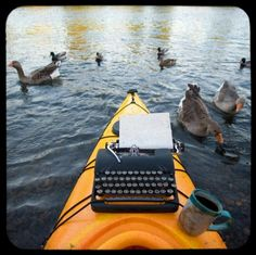 Nature Writer's Desk by robertcrum #Photography #robertcrum #Canoe #Typewriter