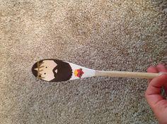 Jesus painted wooden spoon