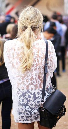 Asos White Oversize Sheer Daisy Tshirt by Happily Grey