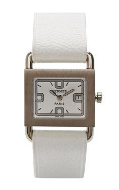 Hermes Barenia Watch In White by Portero for Preorder on Moda Operandi