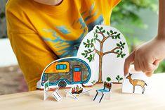 DIY Printable Paper City Camping Play Scene