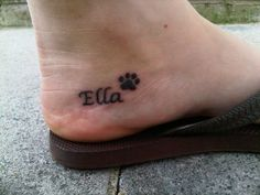 simple name & paw dog tattoo